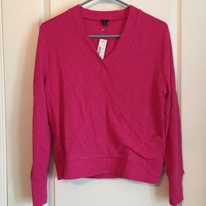J Crew Faux Wrap Pink Cotton Sweater